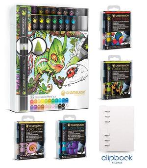 Chameleon Bundle - Original 22 Chameleon Pens, 20 Color Tops with bonus Personal Clipbook by Filofax