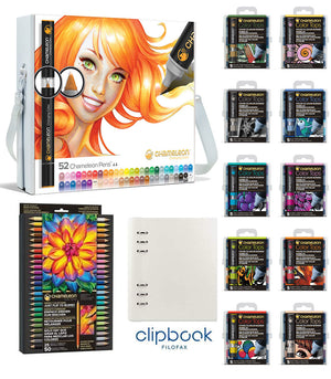 Chameleon Bundle - All 52 Chameleon Pens, 50 Color Tops, 25 Chameleon Pencils with bonus A5 Clipbook by Filofax