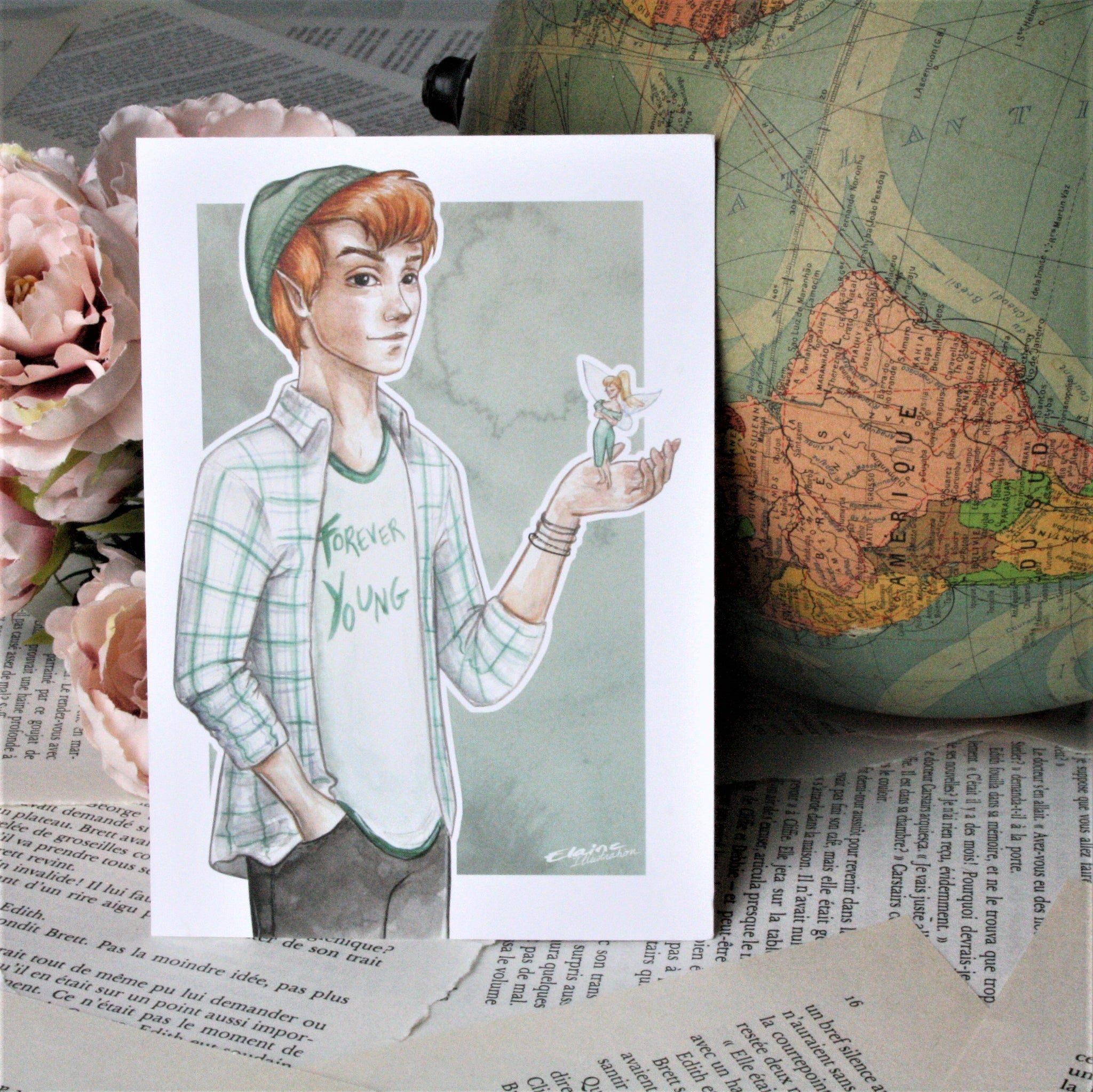 Illustration Peter pan format A6 - 10,5x14,8 cm