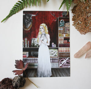 Art drawing print, Postcard,illustration Enchantement la pierre de lune
