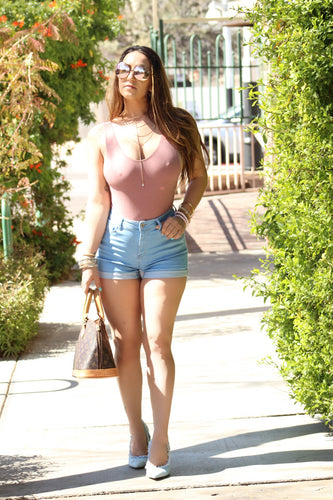 Light Blue High Waist Shorts