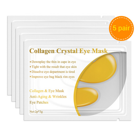 24K Gold Collagen Serum Eye Mask Eye Patches Anti-Aging Wrinkle Firming Dark  Circles Puffiness Skin Care 10PCS 5 Pair