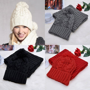b6dc759966d Fashion Womens Knit Handmade Hat and Scarf Winter Set Knitting Skullcaps  Collars