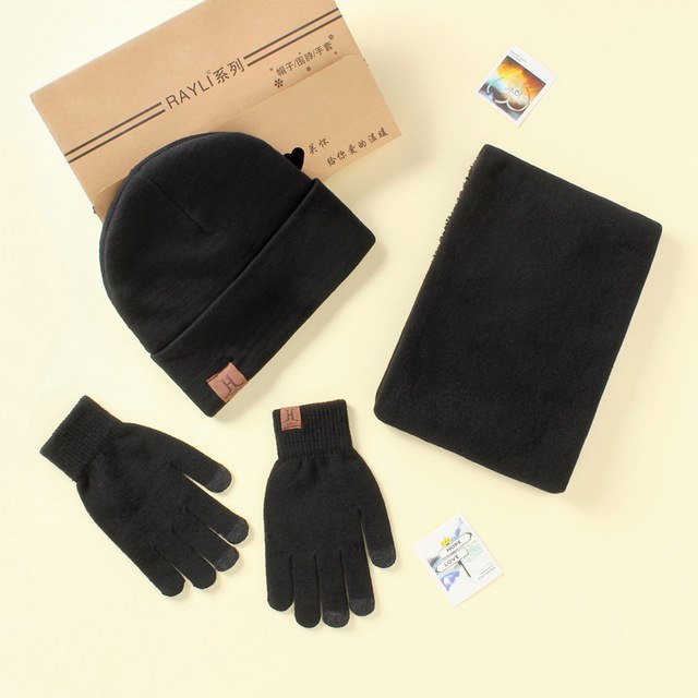 5fad958c867 ... Fashion A Set Of Men Women Winter Hats Scarves Gloves Cotton Knitted  Hat Scarf Set For ...
