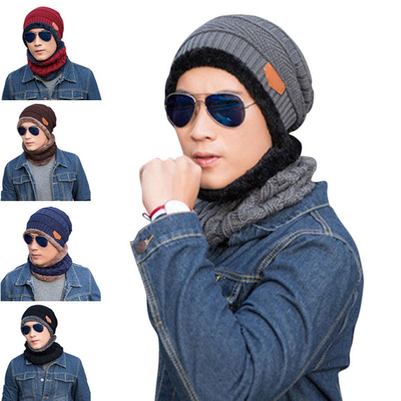 2 Pcs/Set Fashion Men Knitted Cap Scarf Wool Keep Warm Thicken Outdoor Man Casual Beanies Hat Collar FS99