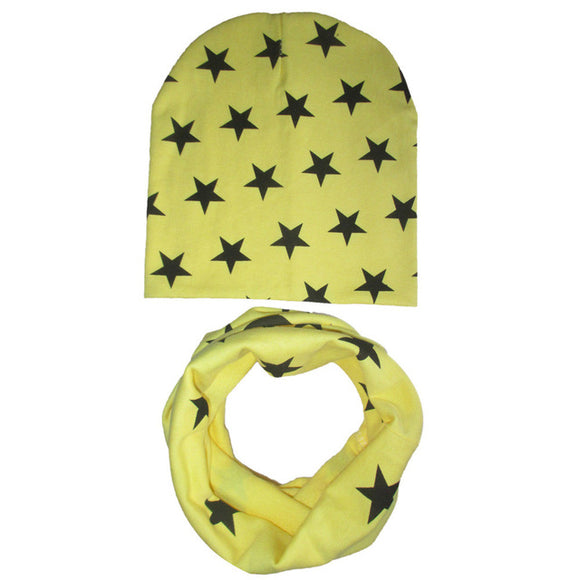 Newly Design Cute Kids Baby Hat Set Casual Star Printed Slouchy Beanies Skullies+O Ring Scarf  Drop Shipping