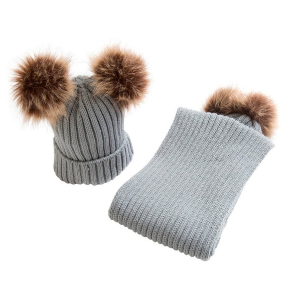 Children Hat and Scarf+Hats Set Winter for kids Thick Knit Beanie Hats and Scarves Real Fur Pom Crochet Cap 3-10 years old YRD