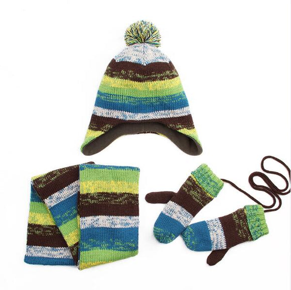 Winter Children Hat+ Scarf +Mittens 3-piece set Fashion Stripes Knit Baby Boys Girls Kids Beanie Neck Warmers Gloves Suits