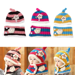 f8c46df4fe7 Baby Hat With Scarf Toddler Winter Beanie Warm Hat Hooded Scarf Earflap  Knitted Cap Cute Woolen