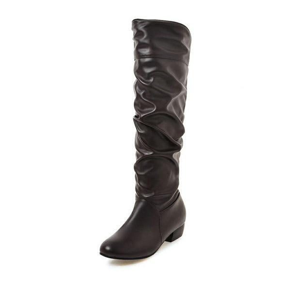 New Solid Square Low Heels Round Toe Shoes Woman Casual Autumn Winter Knee-High Boots