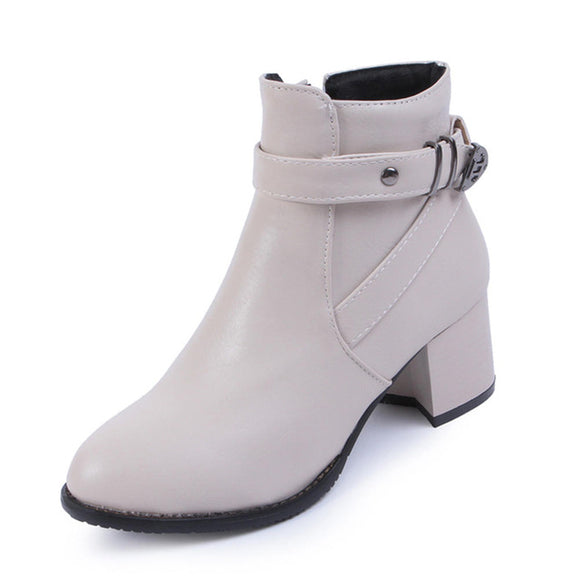 New Arrival Winter Big Size 34-46 Square High Heels Zipper Solid Shoes Woman Boots