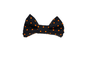 Black with Orange Polka Dots Bow Tie