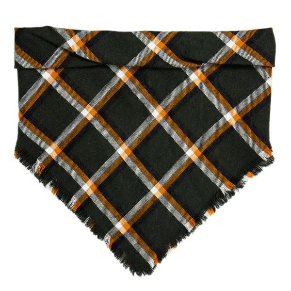 Green, Orange, and White Plaid Scarf