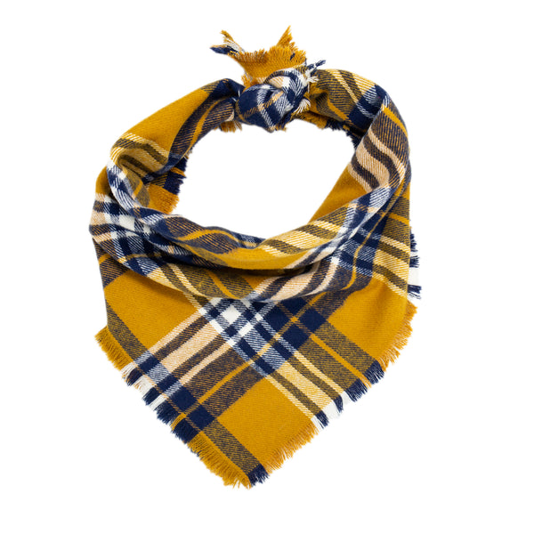 Mustard Yellow and Navy Plaid Scarf