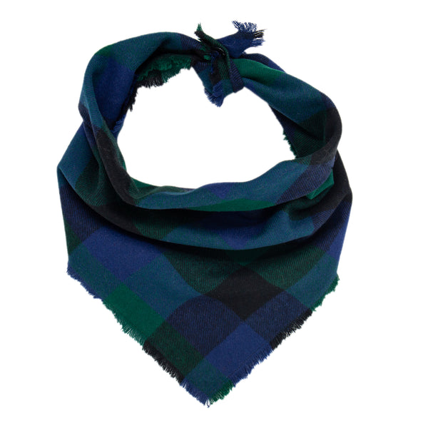 Blue, Green and Black Plaid Scarf