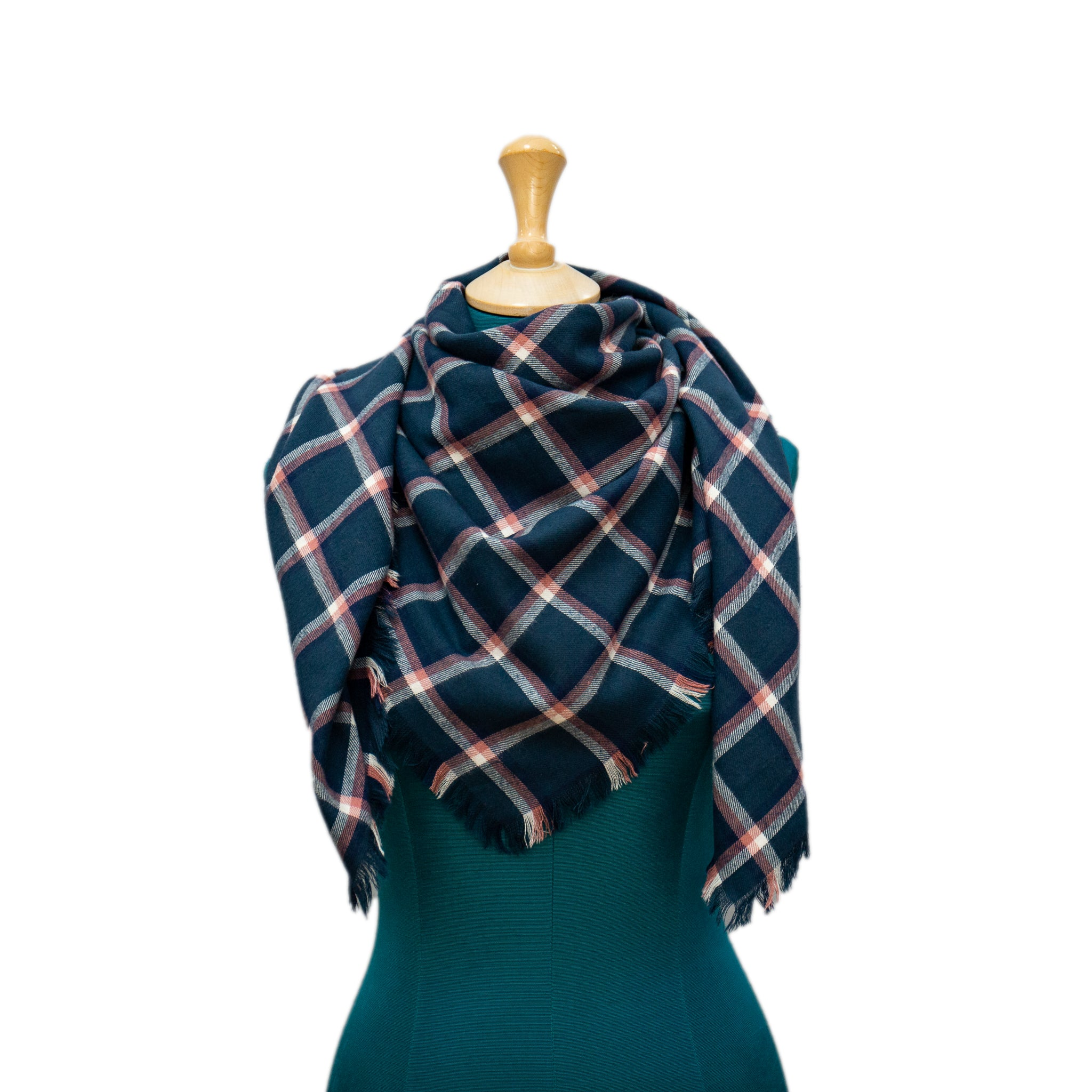 Blue, Pink and White Plaid Blanket Scarf