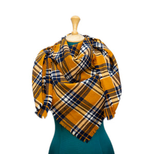 Mustard Yellow and Navy Plaid Blanket Scarf