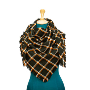 Green, Orange and White Plaid Blanket Scarf