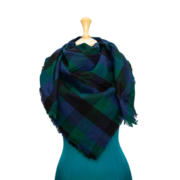 Blue, Green and Black Plaid Mommy and Me Scarf Scarf Set