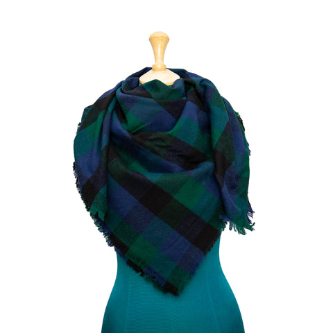 Blue, Green and Black Plaid Blanket Scarf