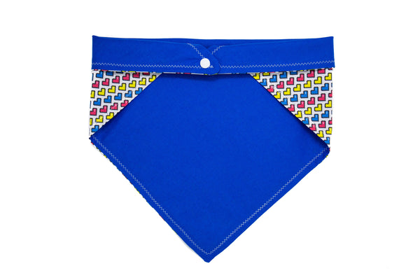 Pink Blue and Yellow Hearts Pet Bandana