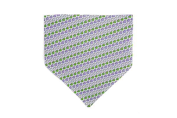 Purple Green and White Hearts Pet Bandana