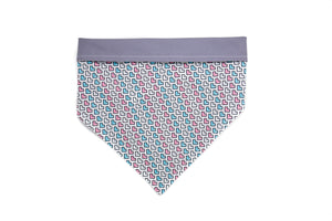 Pink Blue and White Hearts Pet Bandana