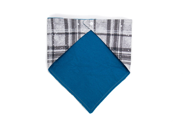 Grey Plaid Pet Bandana