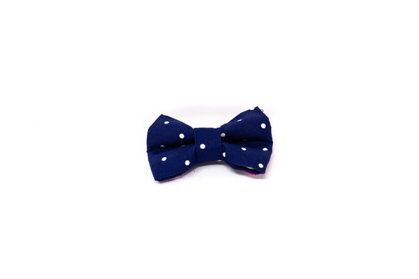 Navy Blue Polka Dots Bow Tie