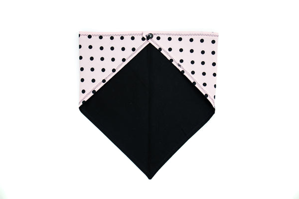 Pink with Black Polk Dots Pet Bandana