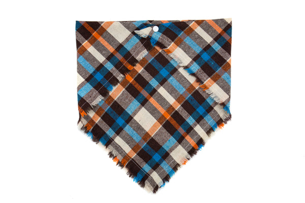 Brown, Blue, Orange Plaid Scarf