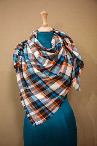 Brown, Blue, Orange Plaid Blanket Scarf
