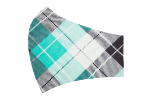 Teal Plaid Face Mask