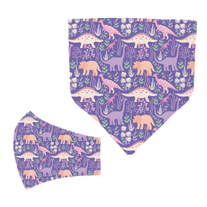Purple Dino Matching Mask and Bandana Set