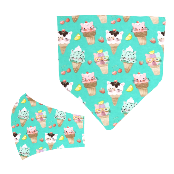 Kitty Cone Matching Mask and Bandana Set