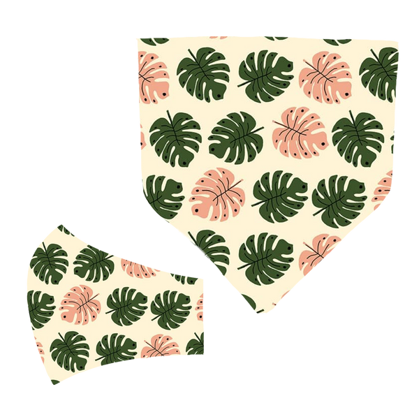 Monstera Matching Mask and Bandana Set
