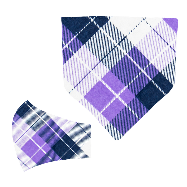 Purple Plaid Matching Mask and Bandana Set