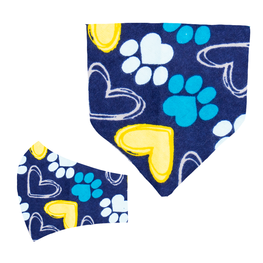 Paws and Hearts Matching Mask and Bandana Set