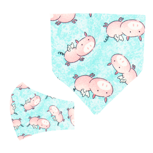 Flying Pigs Matching Mask and Bandana Set