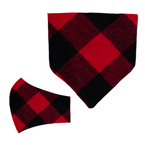 Red Plaid Matching Mask and Bandana Set