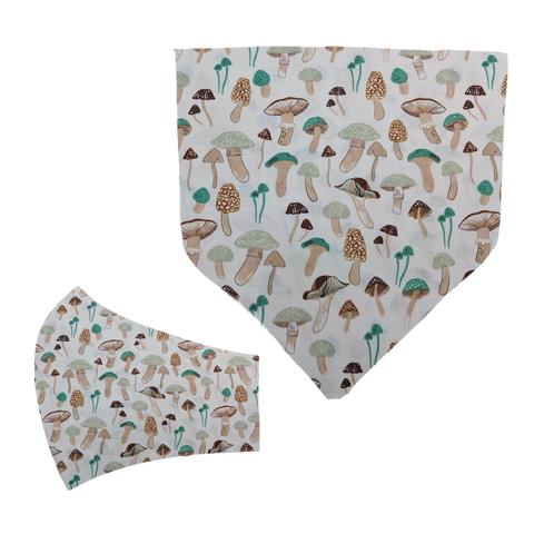 Earthtone Fungus Matching Mask and Bandana Set