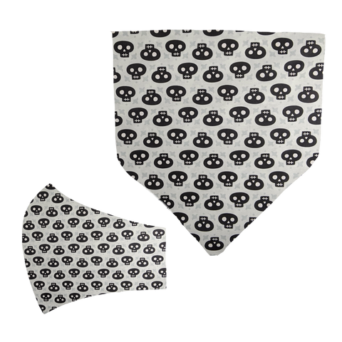 Black Skulls Matching Mask and Bandana Set