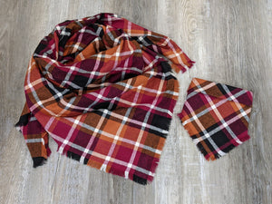 Orange, Red and Black Plaid Mommy and Me Scarf Scarf Set