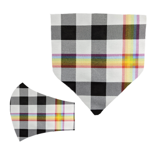 Rainbow Black Plaid Matching Mask and Bandana Set