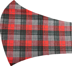 Red, Black and Grey Plaid Face Mask