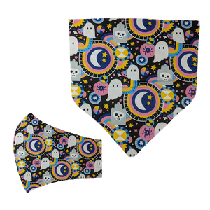 Vibrant Ghosts Matching Mask and Bandana Set