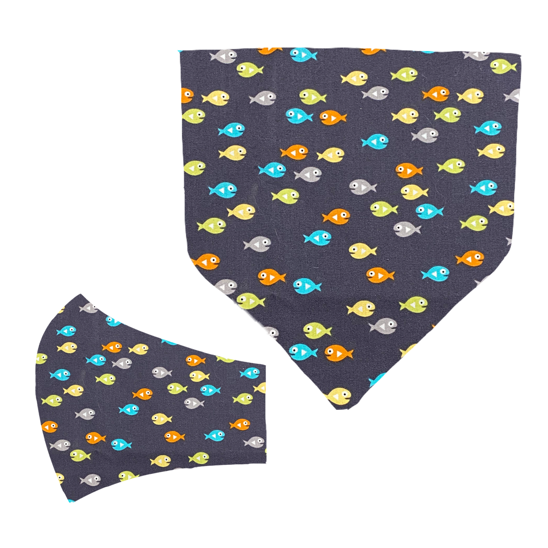 Fishes Matching Mask and Bandana Set