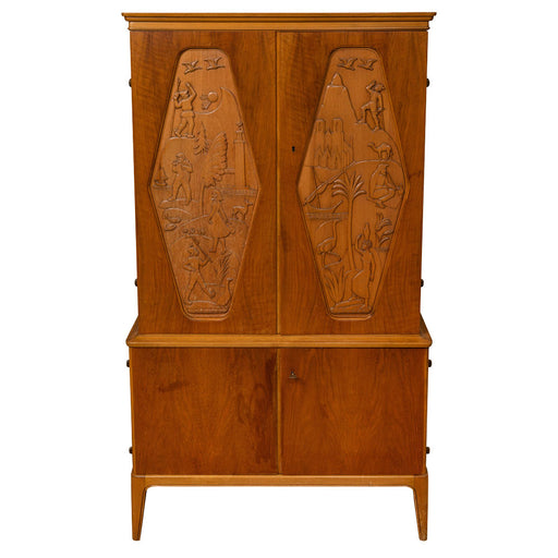 1961 E. Hoglunds Relief Carved Cabinet