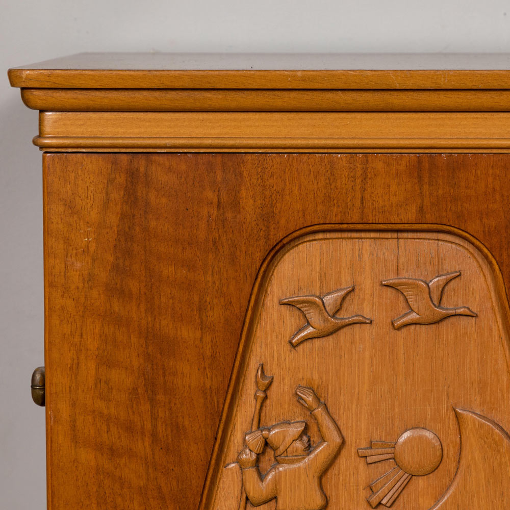 1961 E. Hoglunds Relief Carved Swedish Cabinet