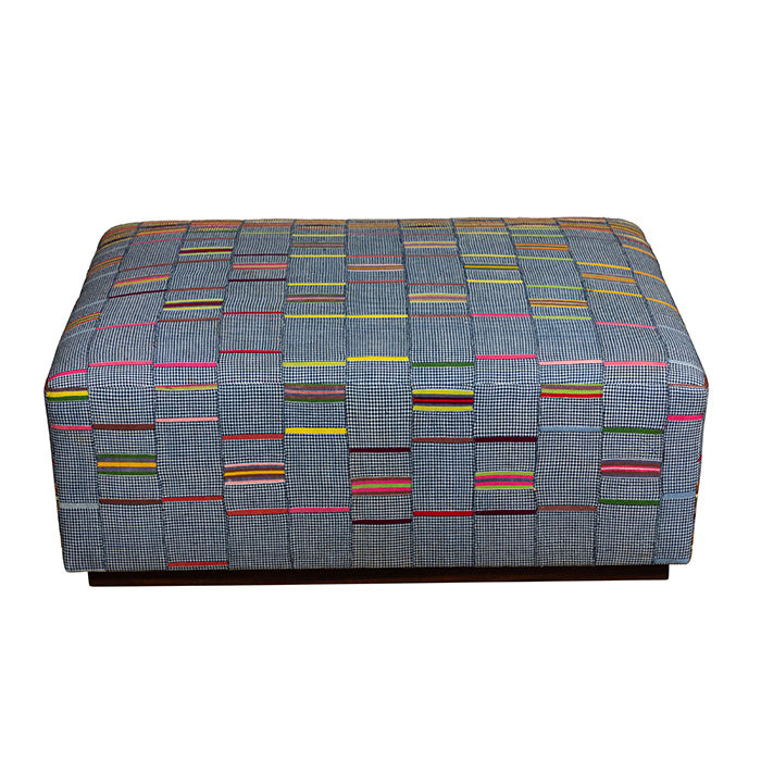 Upholstered Ottoman  African Fabric